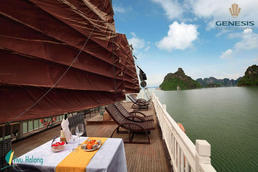 Sunset party on Halong Bay one day tour by Genesis cruise