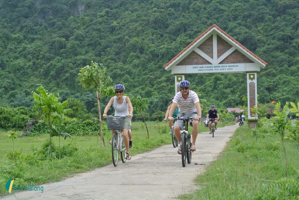 Cycling to Viet Hai village in Cat Ba island