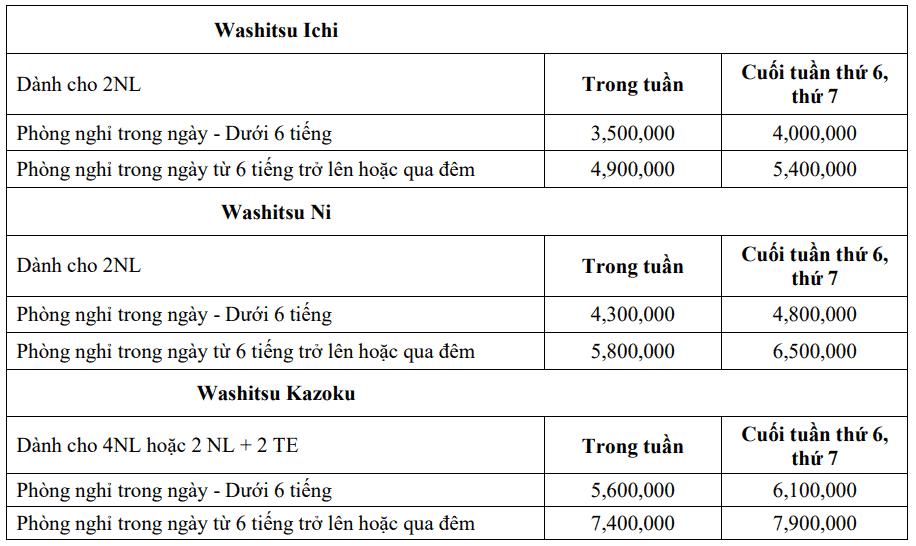 Bảng giá Phòng Washitsu - Yoko Onsen Quang Hanh