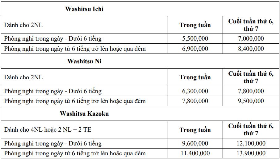 Bảng giá phòng Washitsu bao gồm gói tắm Public Onsen