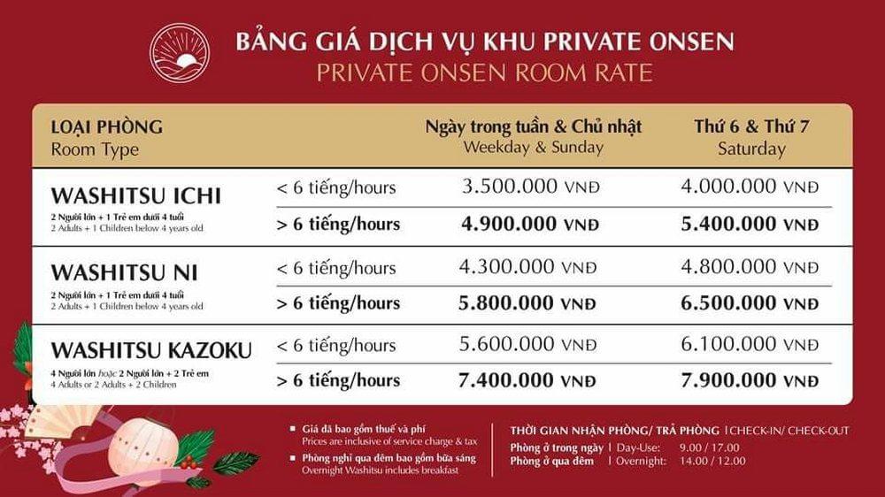 Bảng giá phòng nghỉ qua đêm Yoko Onsen Quang Hanh